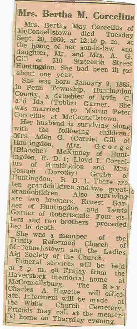 Corcelius, Bertha M. Garner 1960