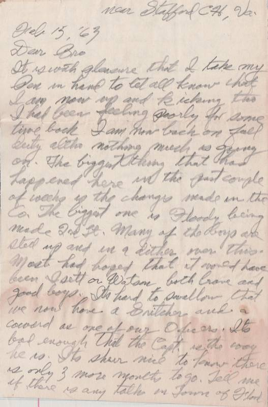 Thomas C. Fisher Civil War Letter - Page 1