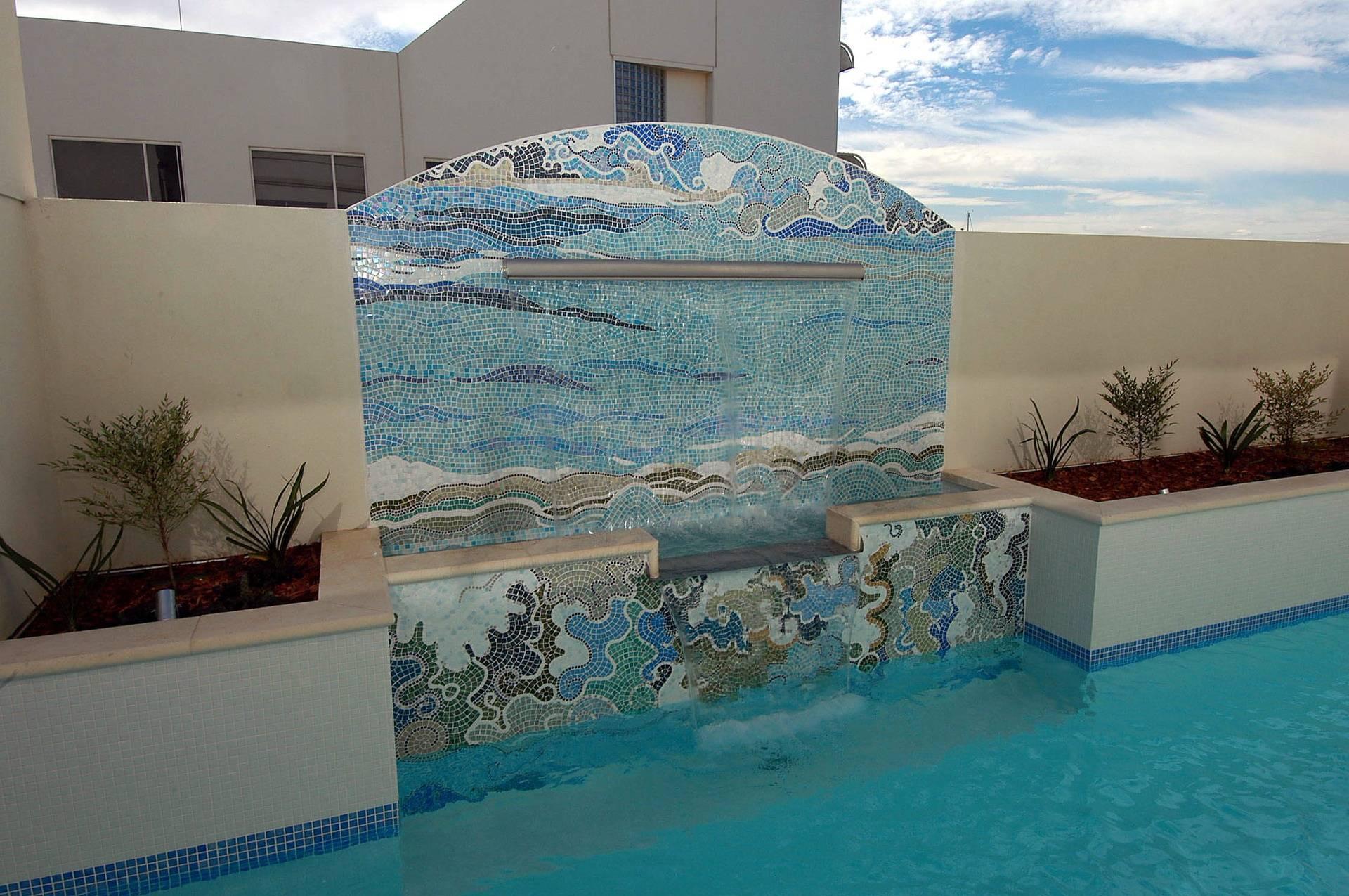 Water feature Italian glass mosaic