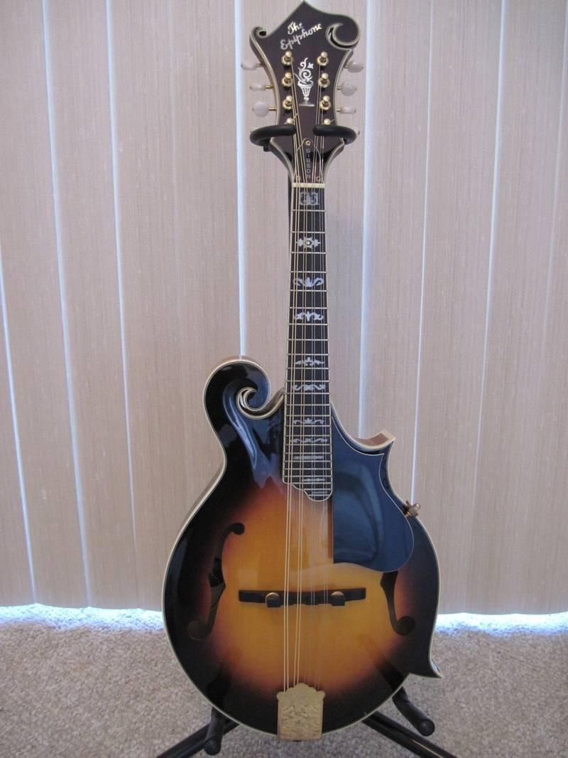 The Epiphone MM-50 Deluxe Mandolin With Gold Hardware And Fancy Fingerboard Inlays