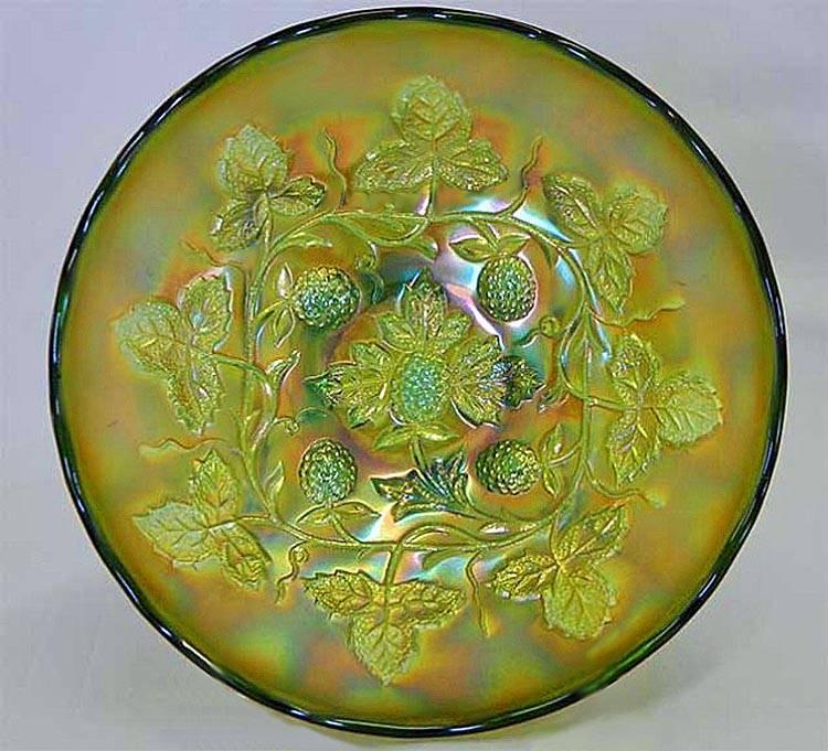 "Blackberry Wreath 7""  IC shaped bowl - green satin"