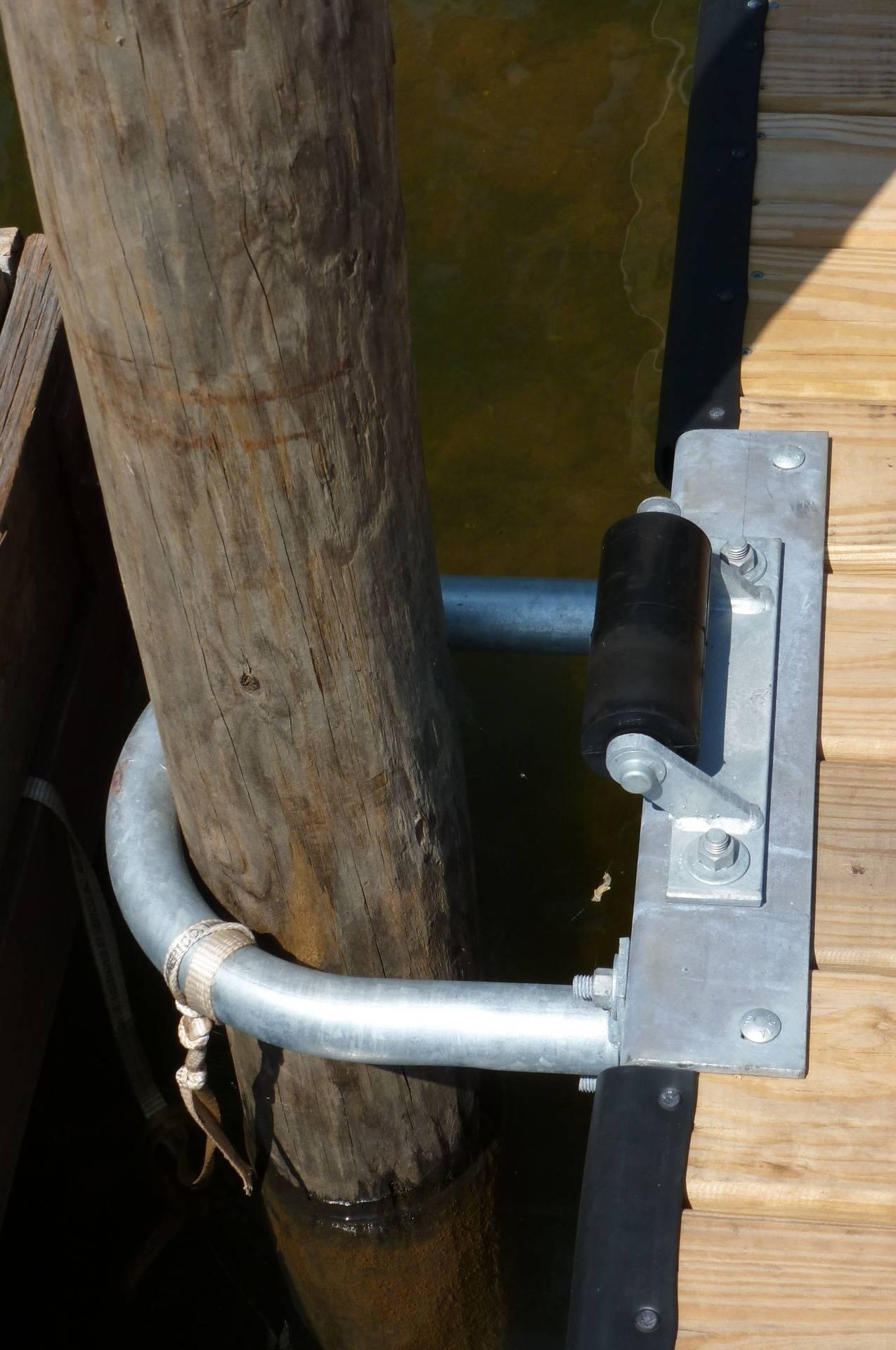 Large Hoop Pilings secure the floating fingers