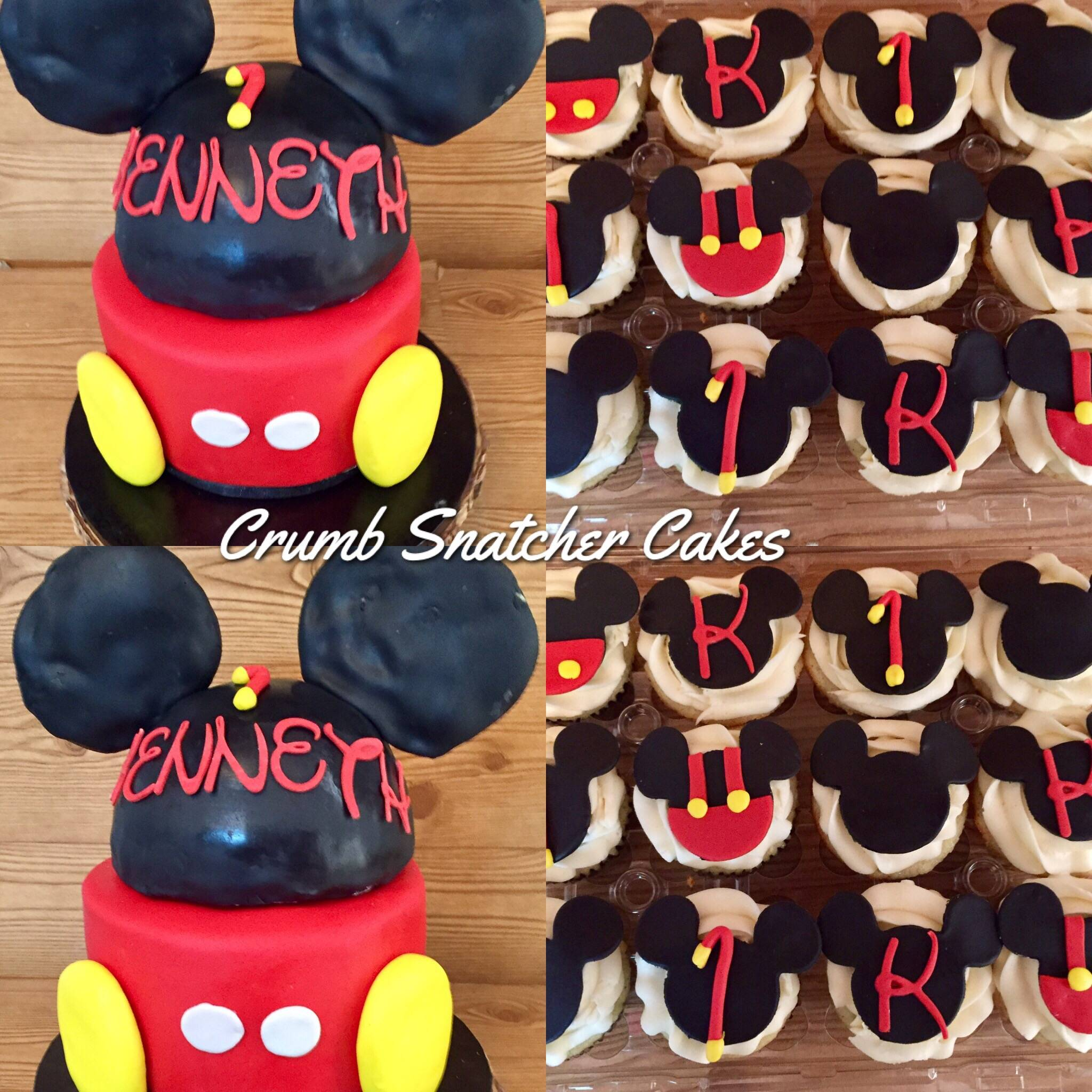 Mickey Mouse themed cake w/ matching cupcakes.