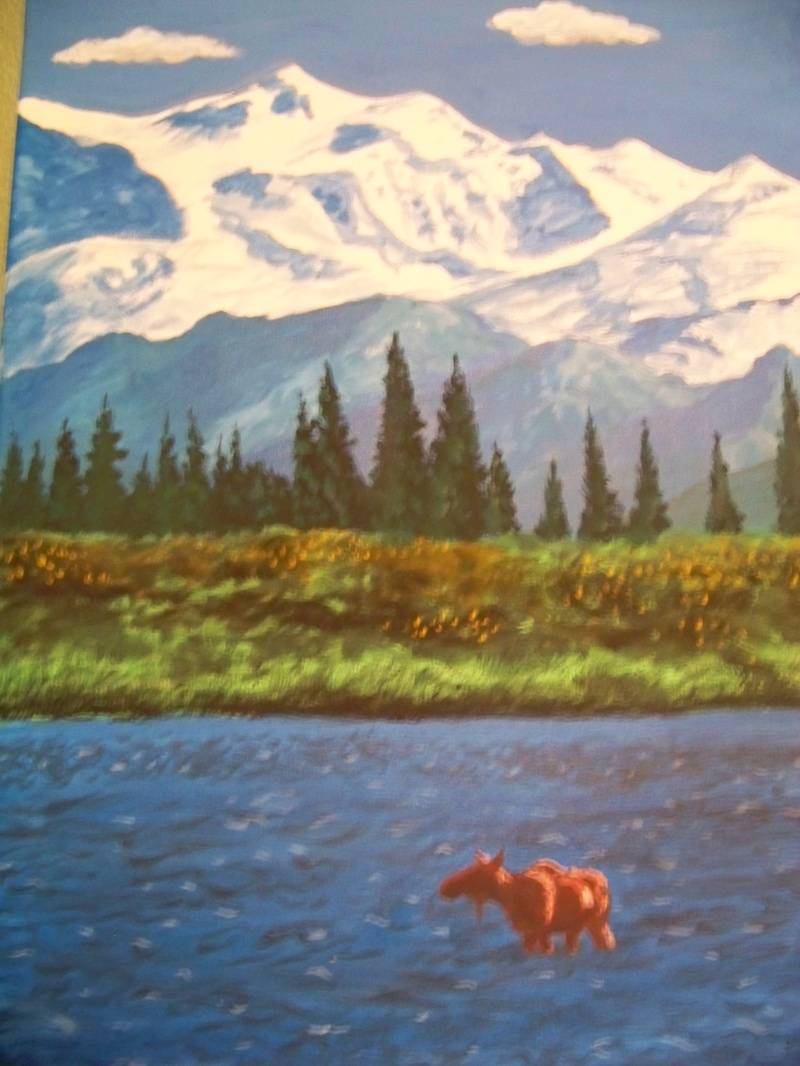 Moose in a stream