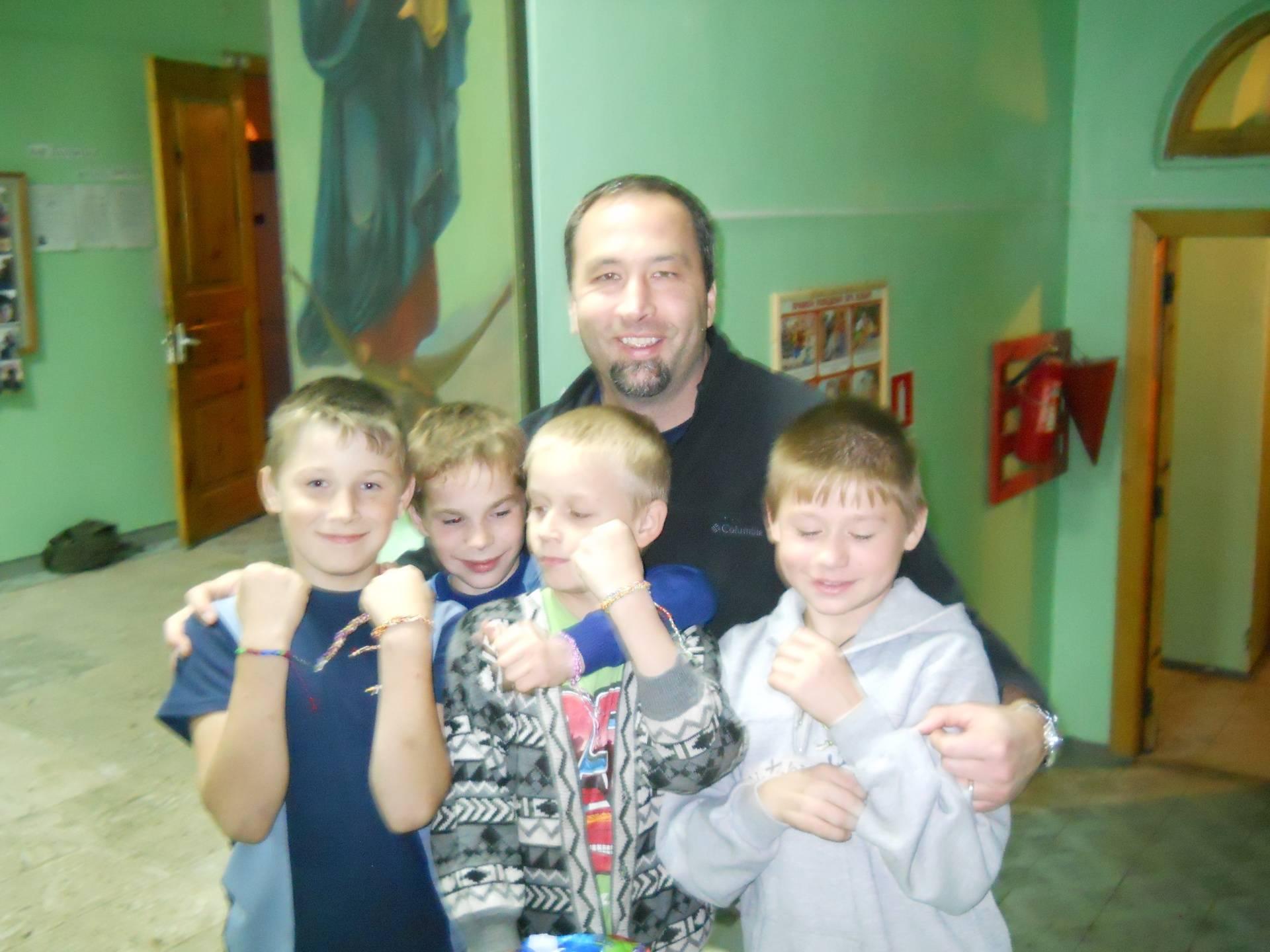 Rick Kiehn with orphan boys