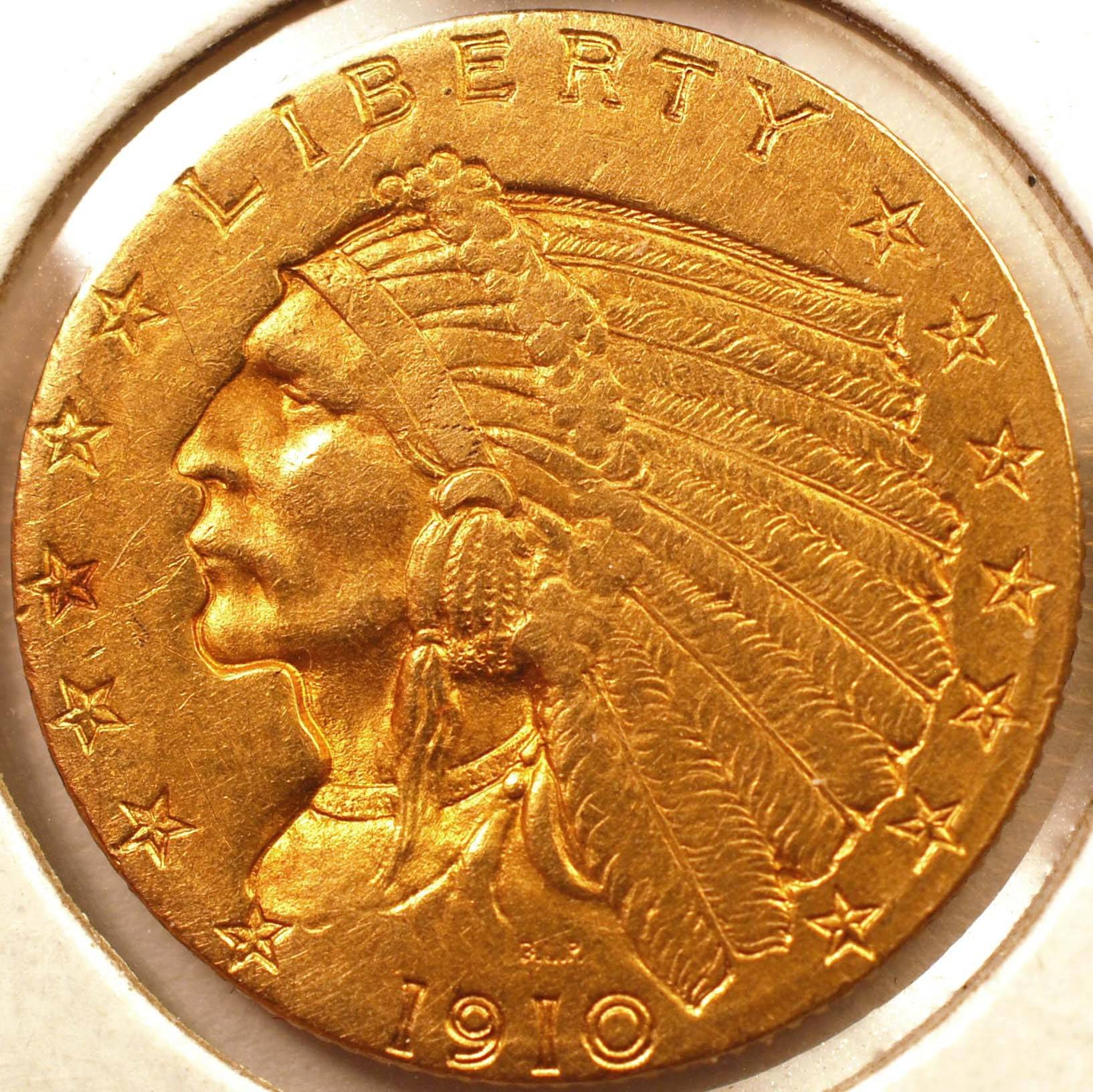 1910 Indian Quarter Eagle AU Obverse