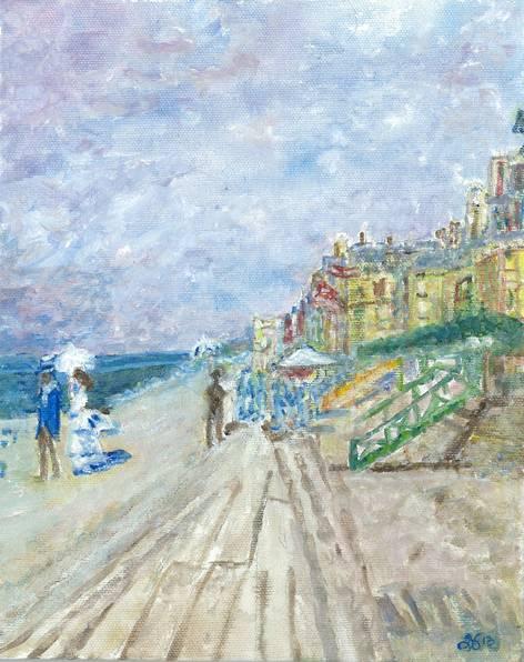 "Interpretation of ""The Boardwalk at Trouville 1870"" by Monet"