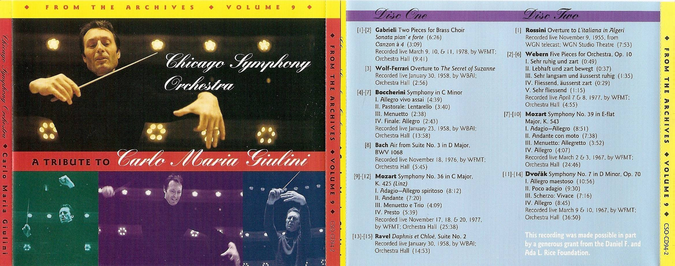 Chicago Symphony Orchestra - From The Archives, Vol.9: A Tribute to Carlo Maria Giulini, 2-CD set (1994)