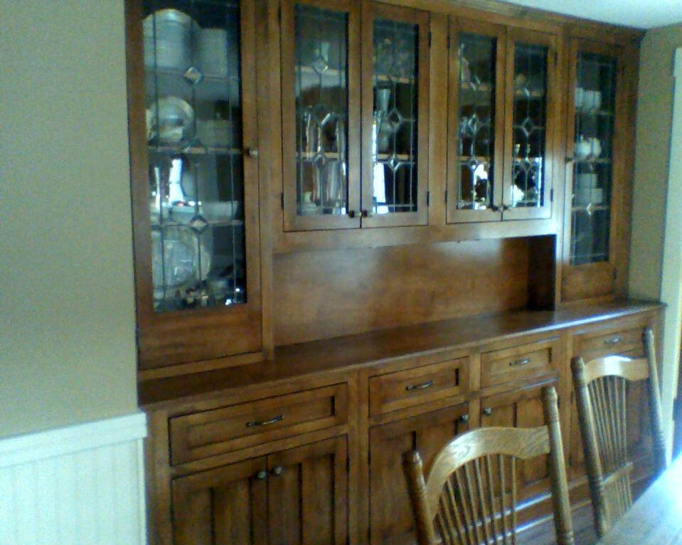 Maple china cabinet build with old leaded glass
