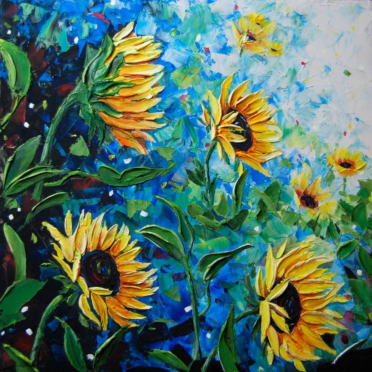 Windy day Sunflowers.  24 x 24.