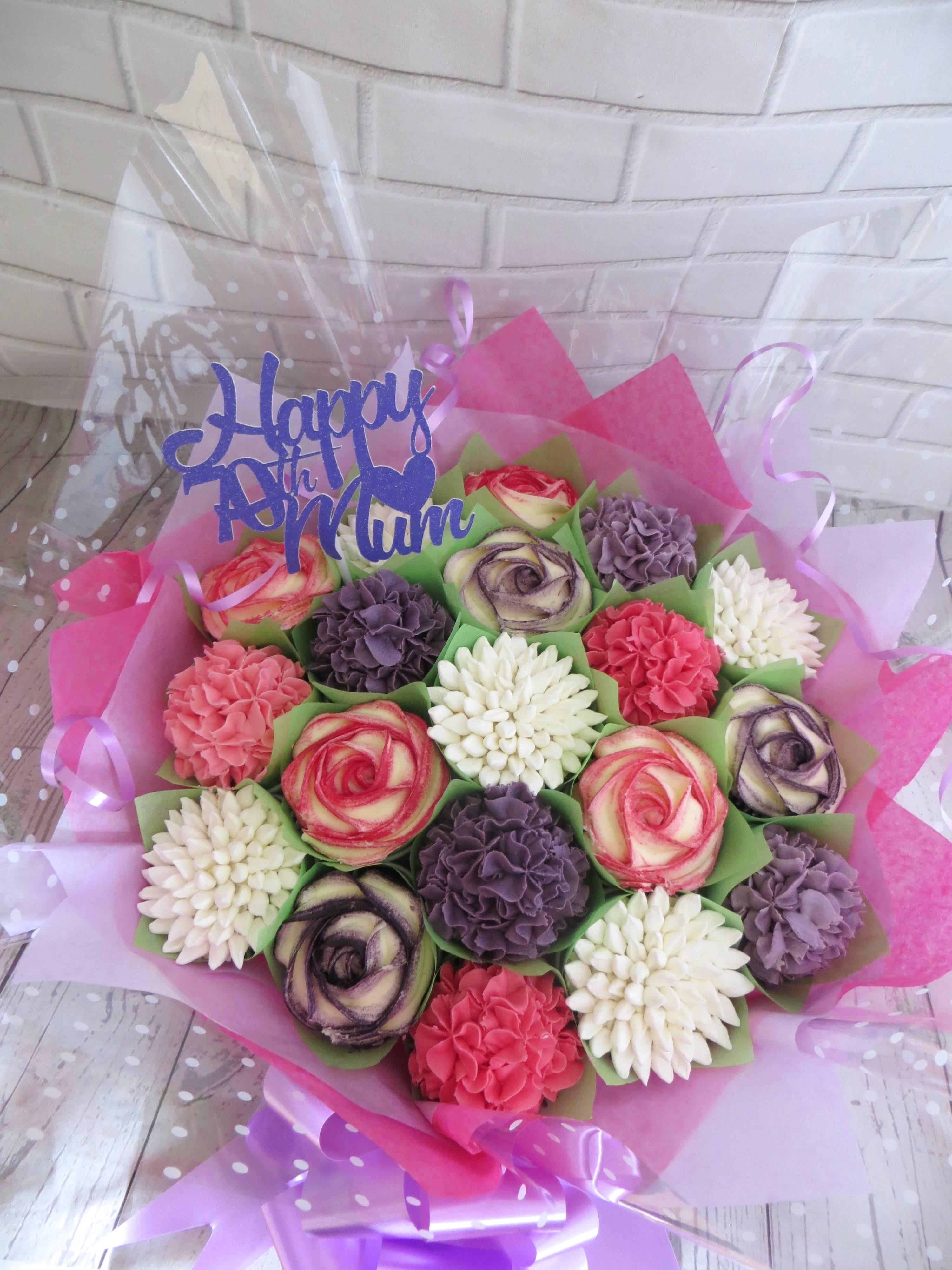 70th birthday pink & purple cupcake bouquet