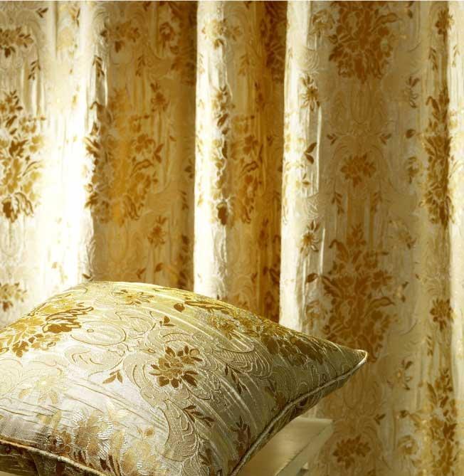 Jacquard Silk Satin Floral Drapes and Curtains (A-132)