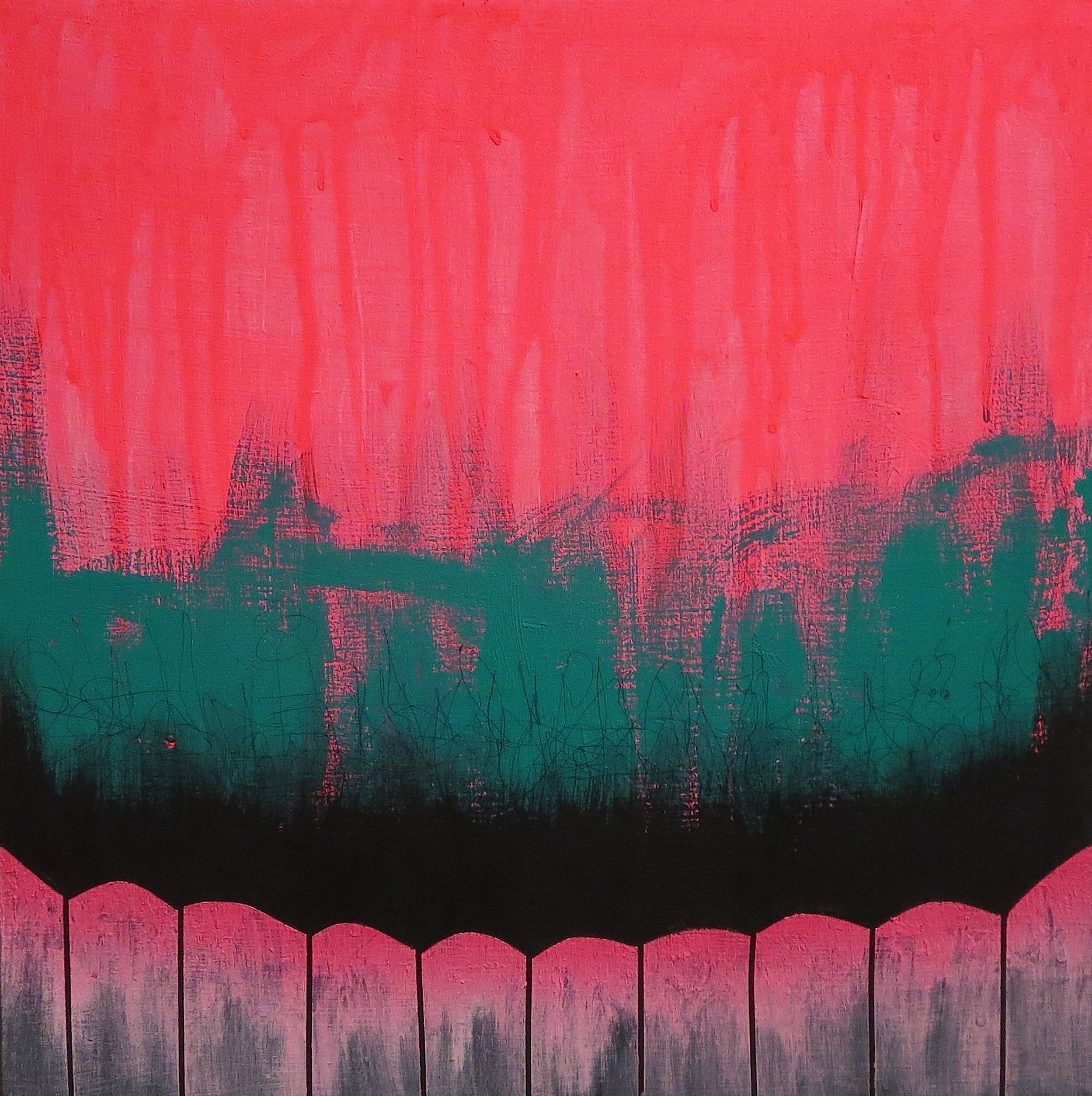"""""""Gritty City Pink #2"""" 12 x 12 inches, acrylic and ink on cradled wood panel, 2014, $250"""