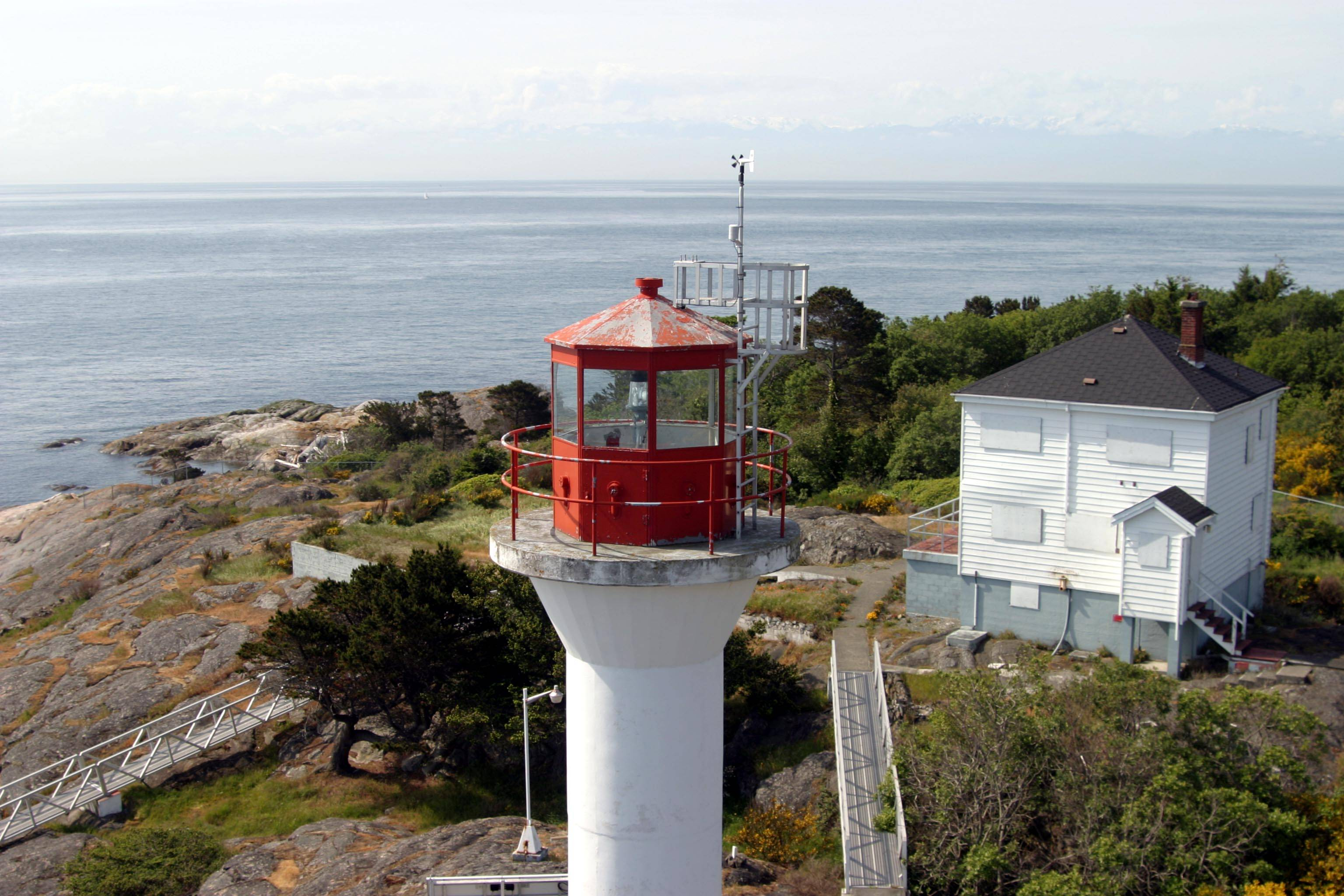 Discovery Island lighthouse from a CG. helicopter.