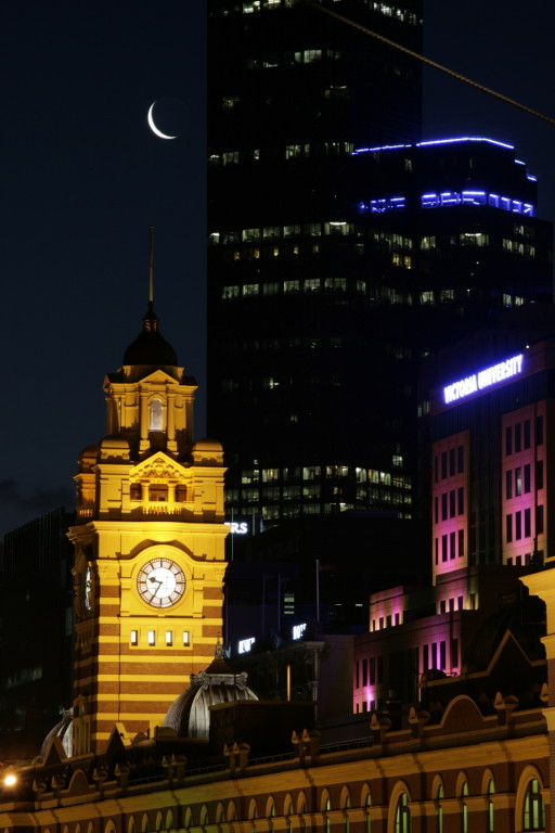 Flinders Street Station with Moon