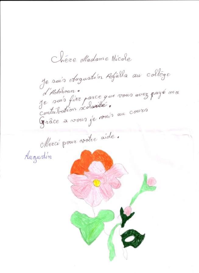 lettre de Augustin al Nicole (Moncton)