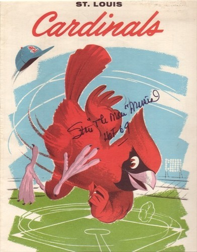 """St Louis Cardinals Autographed 1961 Scorecard Stan Musial With """"The Man"""" and """"HOF 69"""" Inscriptions"""