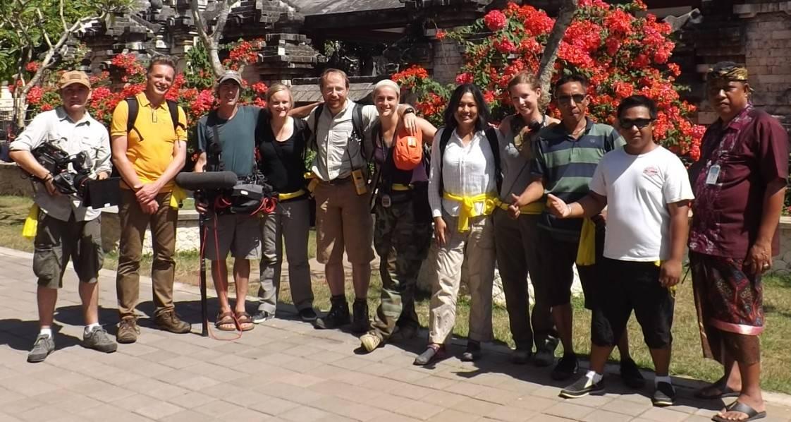 Fany Brotcorne, JB Leca, Gwennan Giraud and the BBC crew in June 2015 (Uluwatu, Bali)