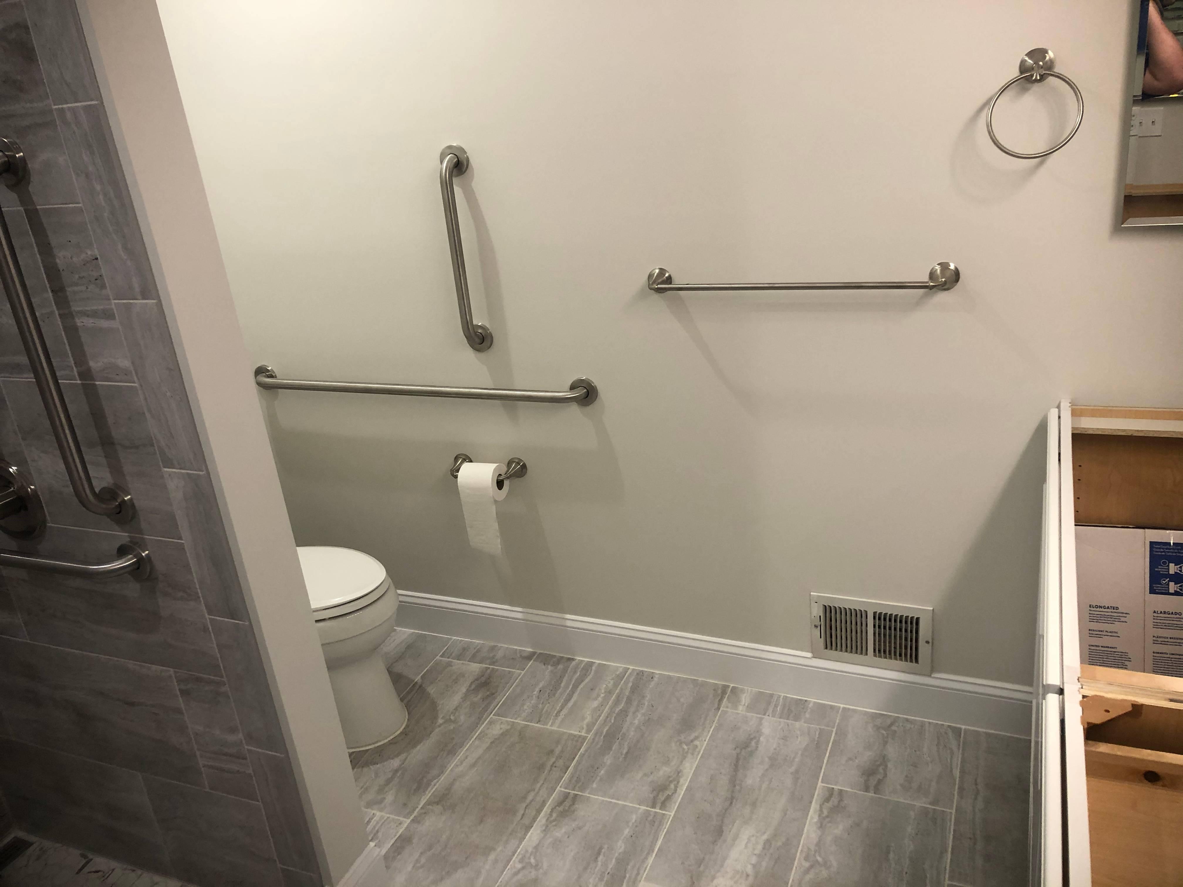 New bathroom with tile floor