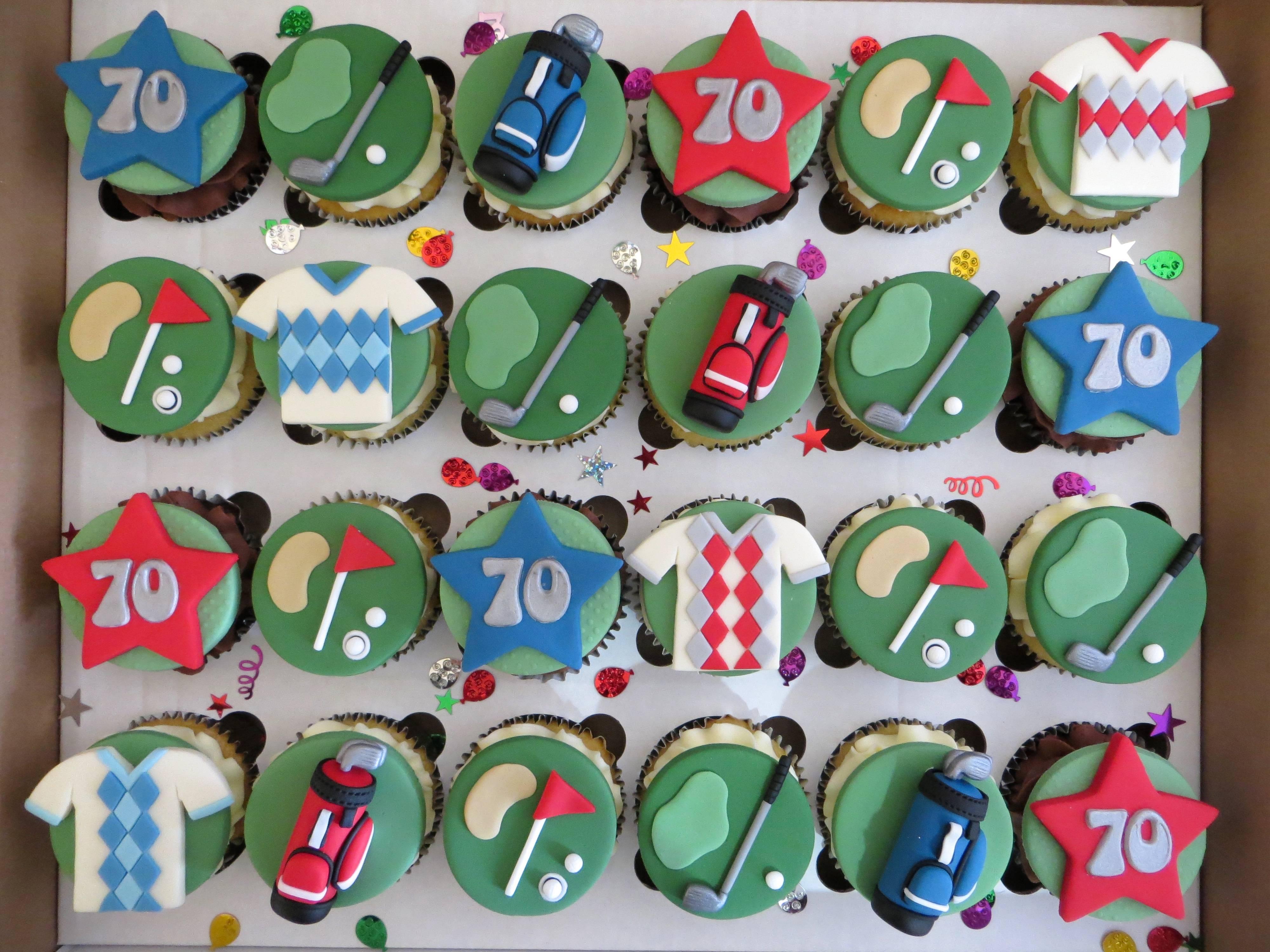 Golf themed 70th Birthday Cupcakes