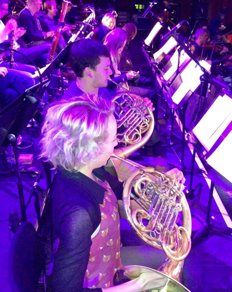 Trying out horn at Aurora Orchestra rehearsal break