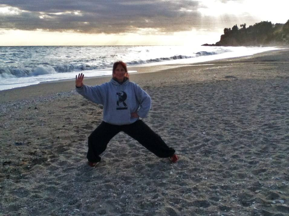 on the beach at Spain training camp jan 2015