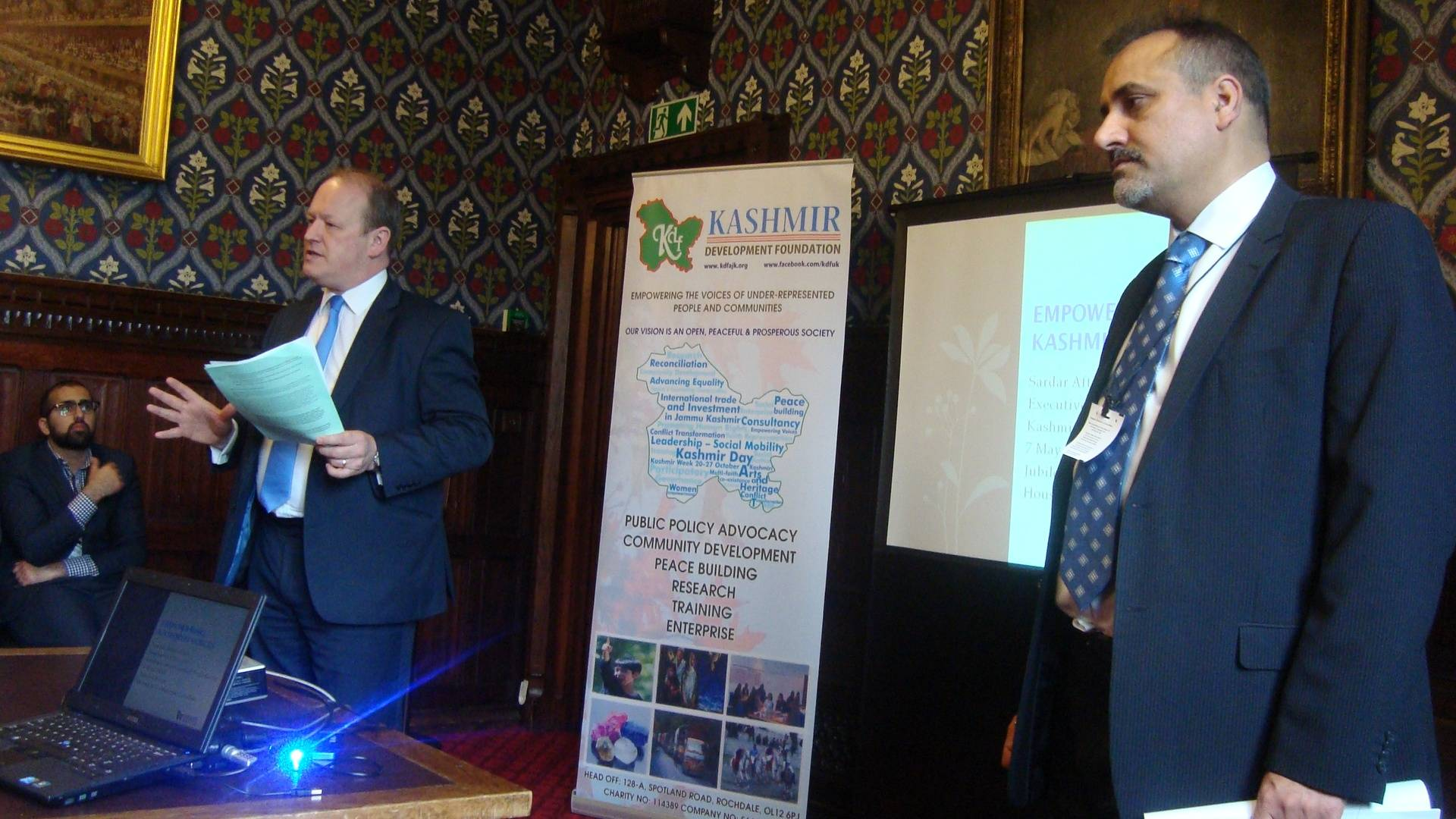 Simon Danczuk MP and Sardar Aftab Khan speaking at Parliamentary Reception