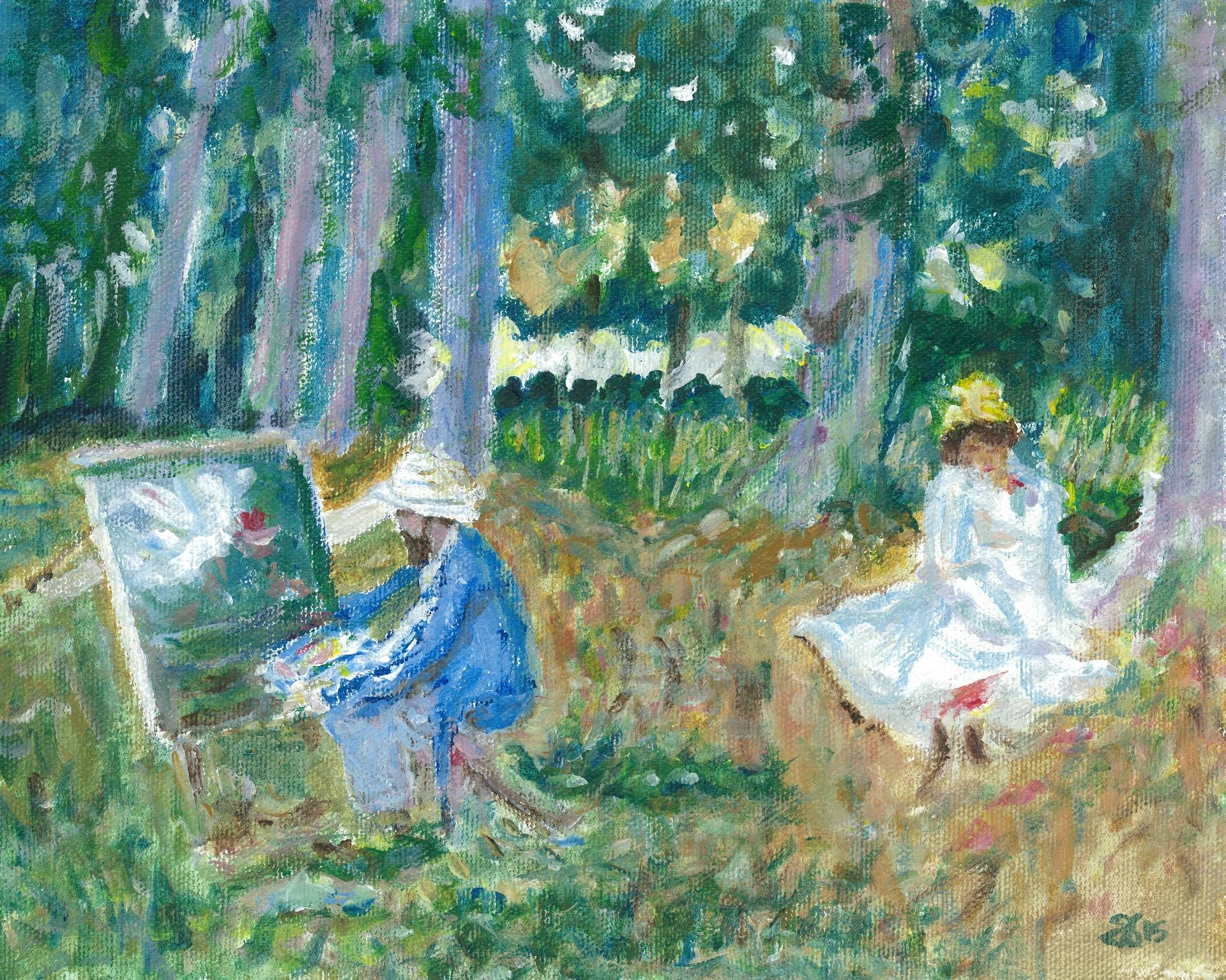 Interpretation of Monet Painting by the Wood by John Singer Sargent