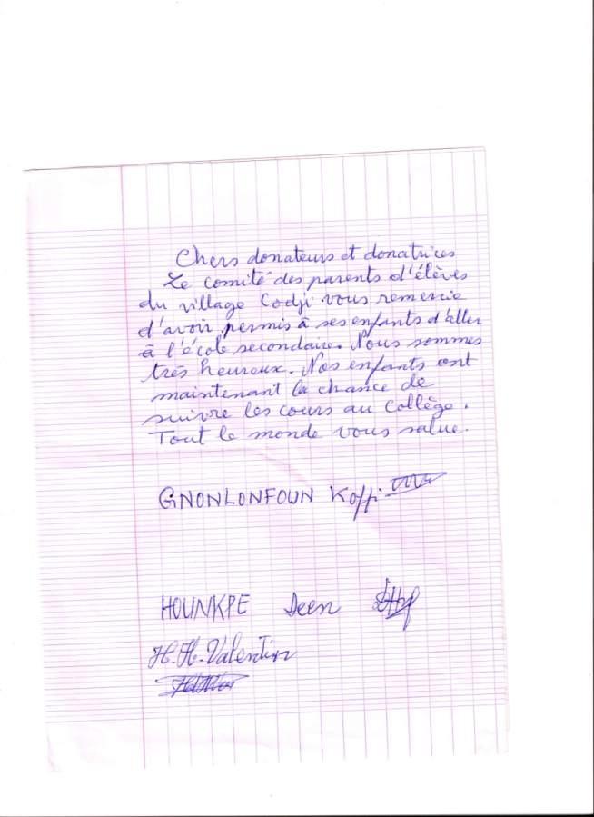 lettre des parents