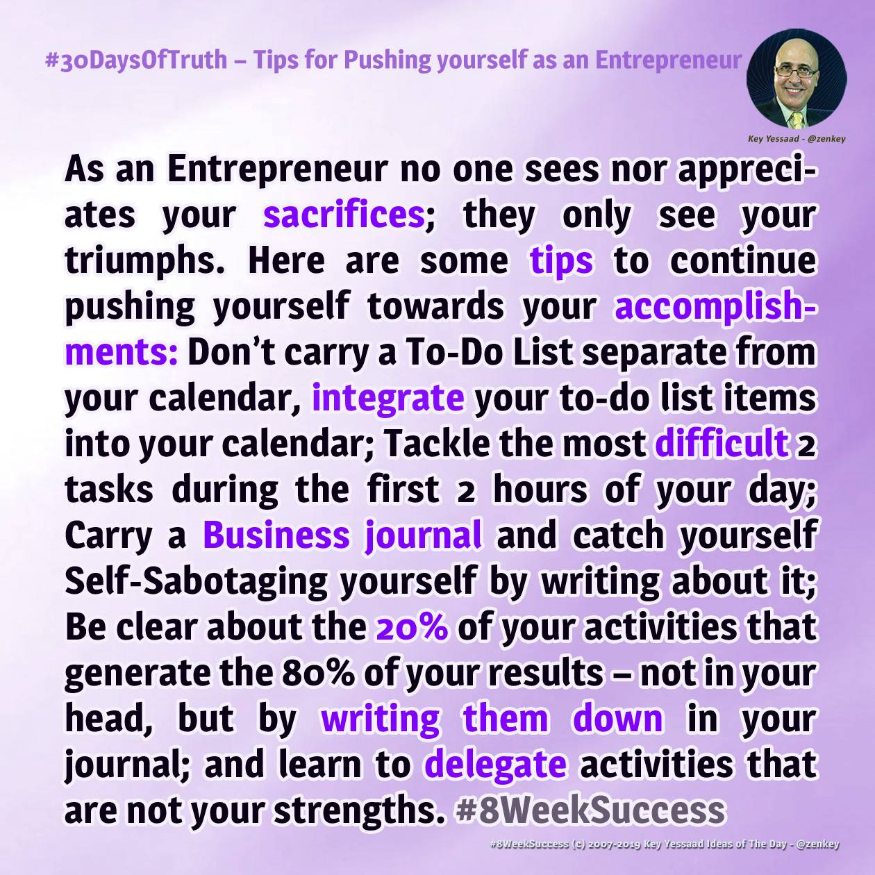 Tips for Pushing yourself as an Entrepreneur - #8WeekSuccess