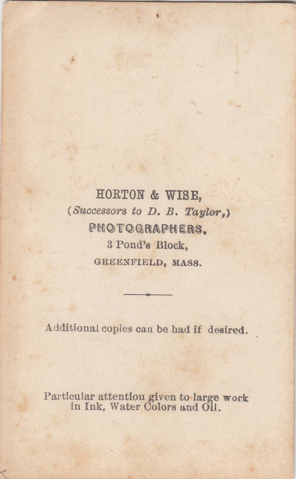 Horton & Wise, photographers of Greenfield, MA - back