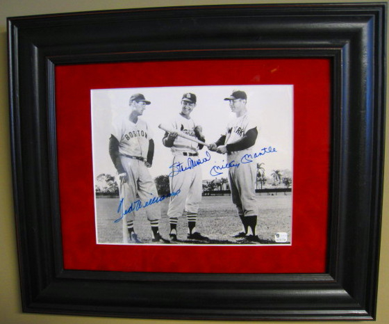 3 Hall of Famers Signed 8x10 Photo-Mickey Mantle, Ted Williams, Stan Musial -JSA And GAI Authenticated