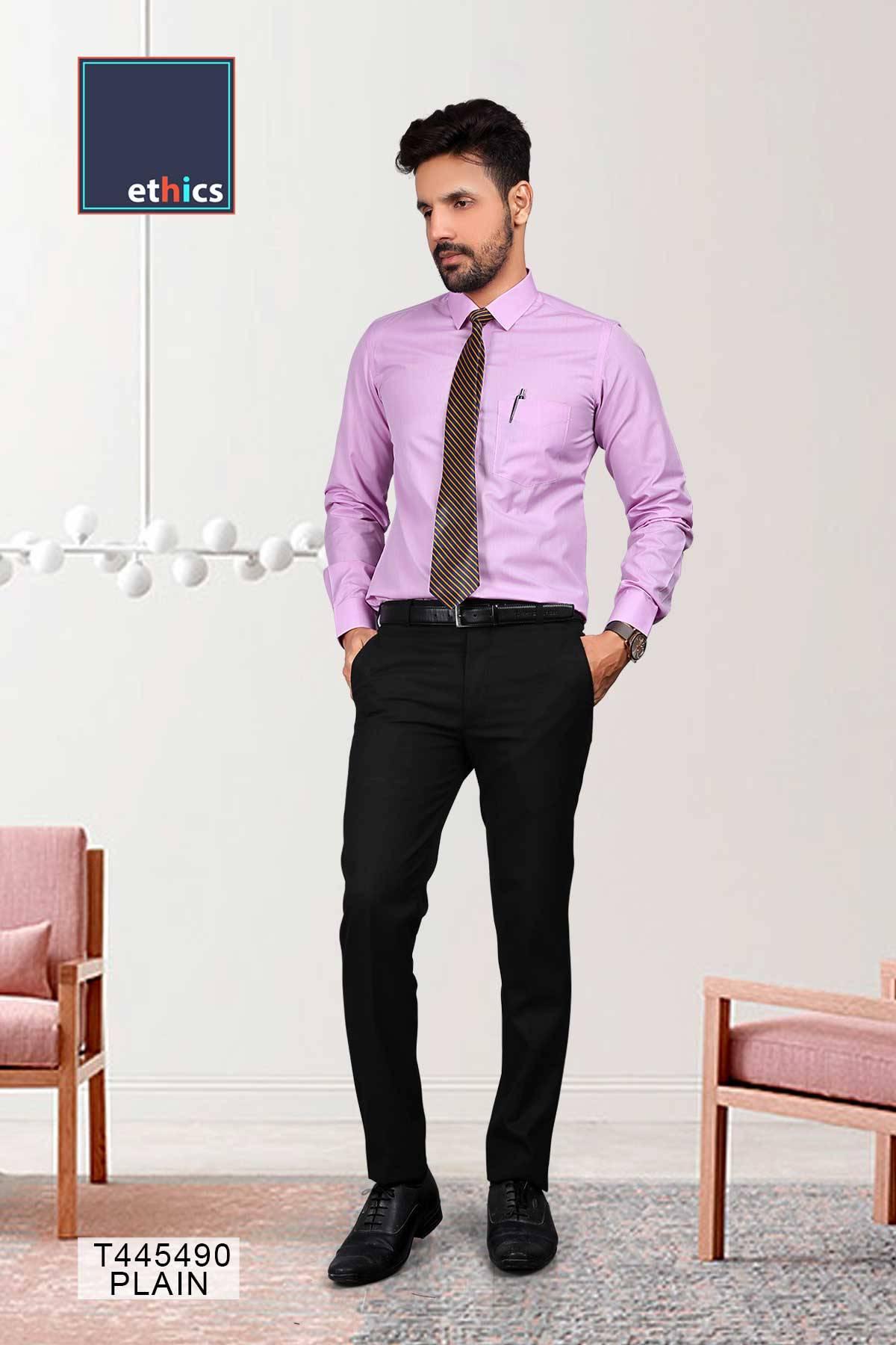 Purple Plain Readymade Uniform Shirts for Corporate Staff T445490