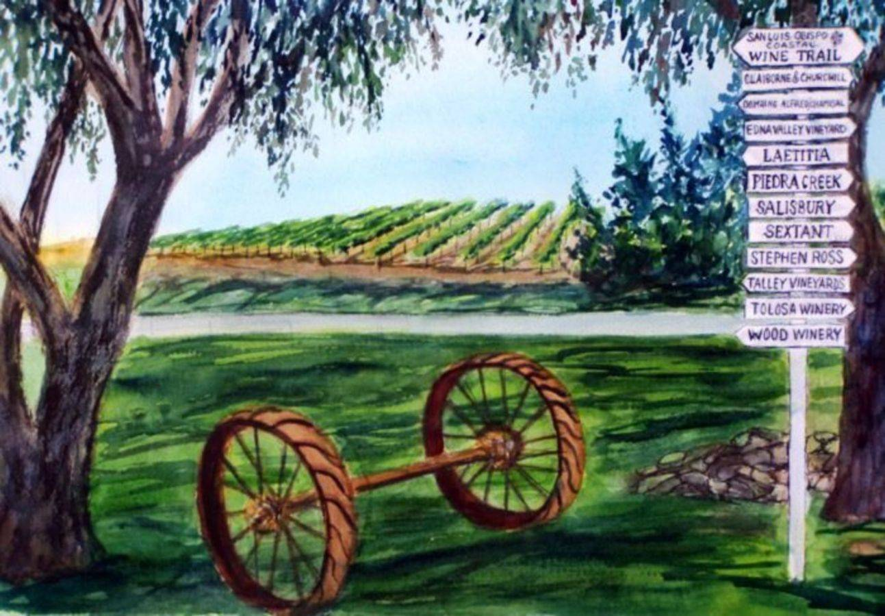 The Wine Trail Sign at Kynsi Winery, Arroyo Grande
