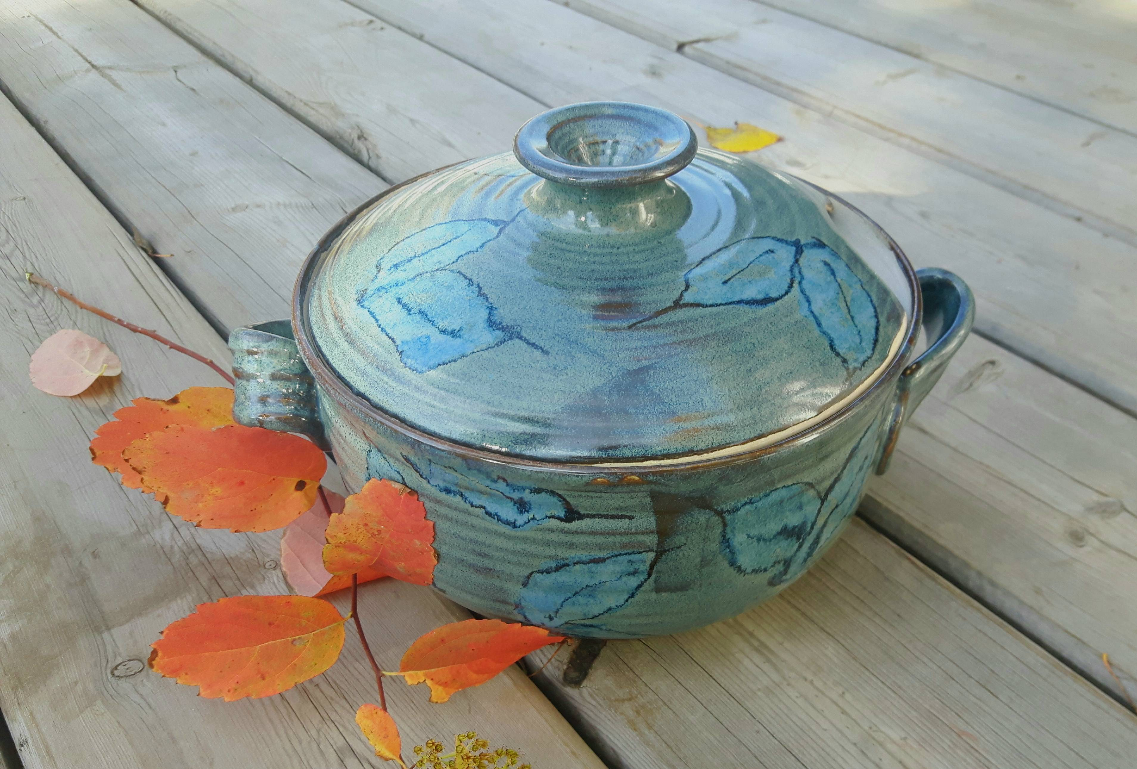 Opal Leaves Lidded Casserole