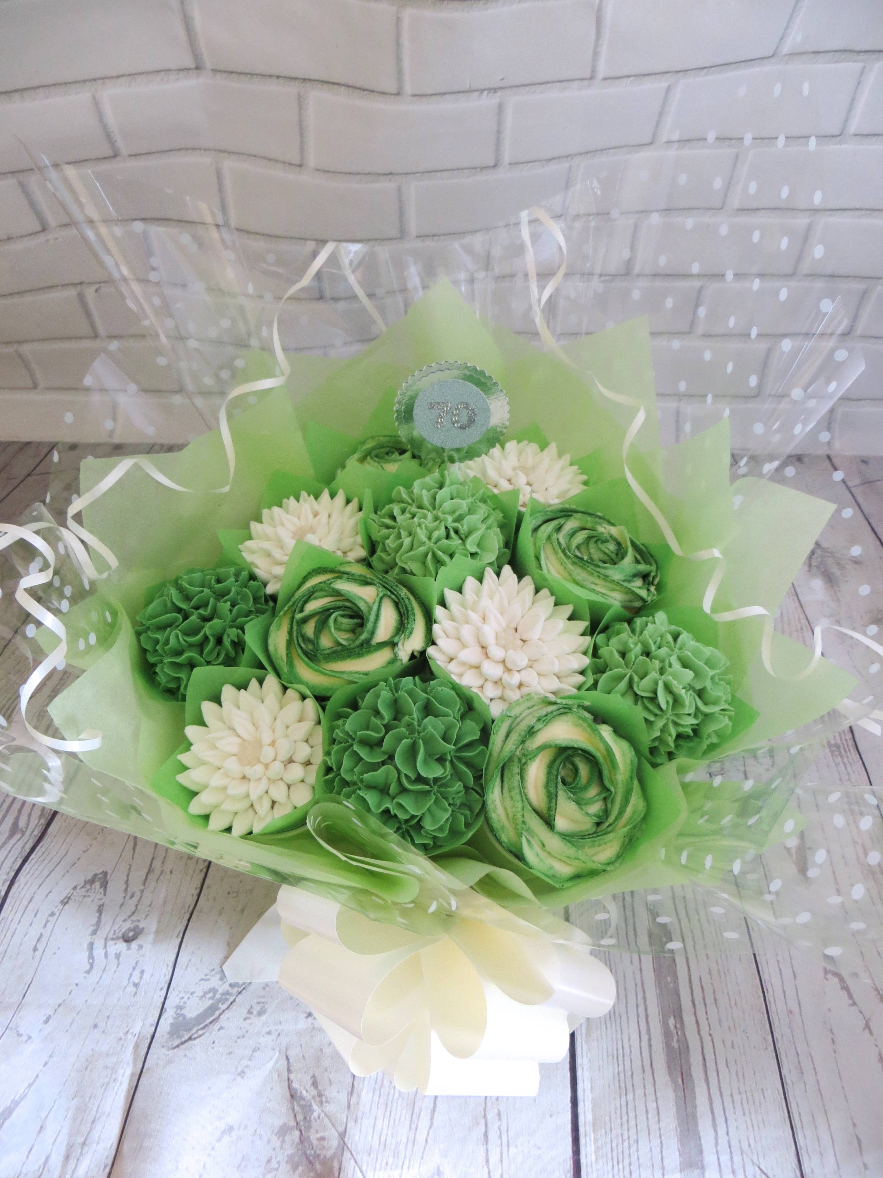 Green and white cupcake bouquet