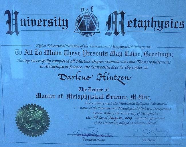 Master of Metaphysics Degree