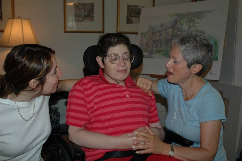 Social Worker Roseanne, Aimee, and Abigail, planning a lunch date, as Aimee was discharged from Hospice, July 10, 2006...