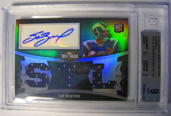 2010 Sam Bradford Topps Triple Threads Emerald 8/50 Rookie Card Sam's Jersey   Number 8