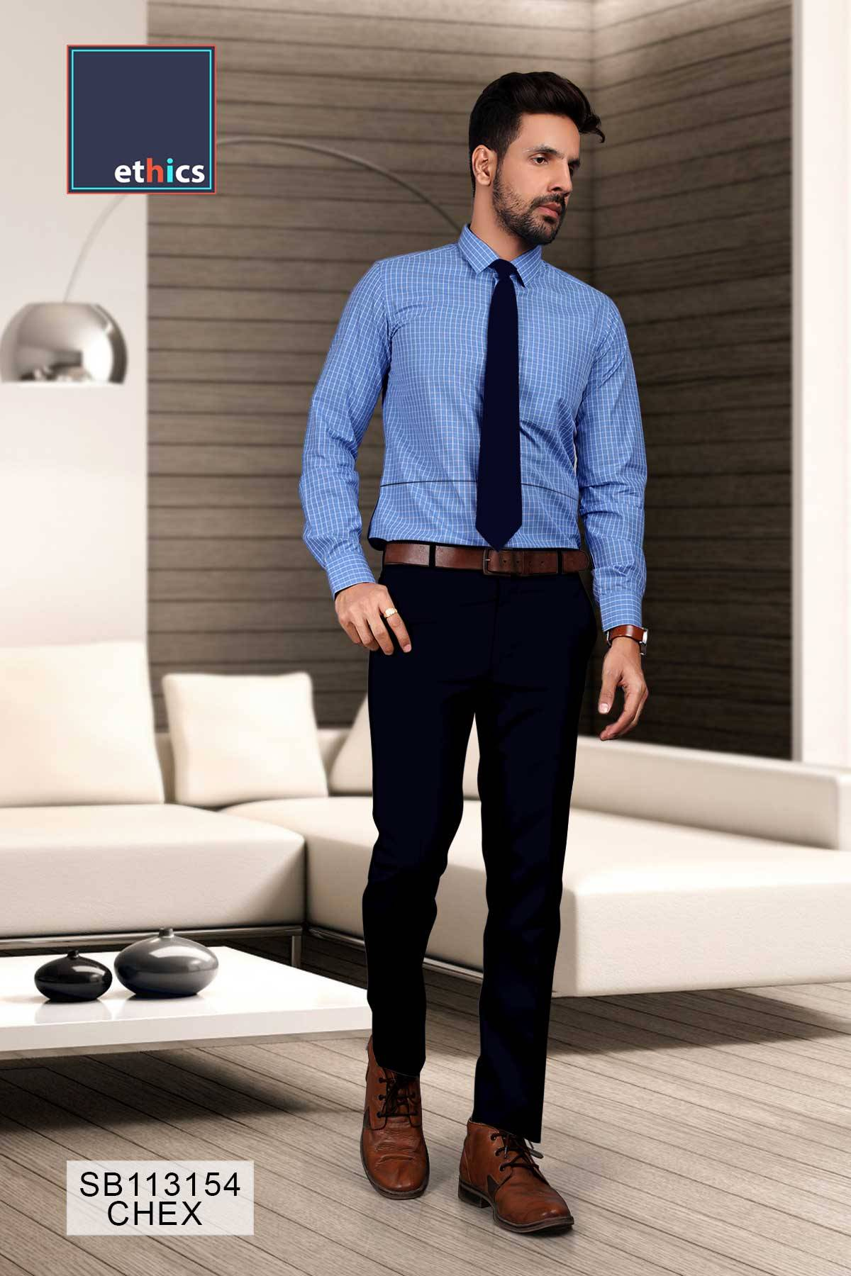 Blue Chex Formal Uniform Shirts for Corporate Office SB-113154Blue Chex Formal Uniform Shirts for Corporate Office SB-113154