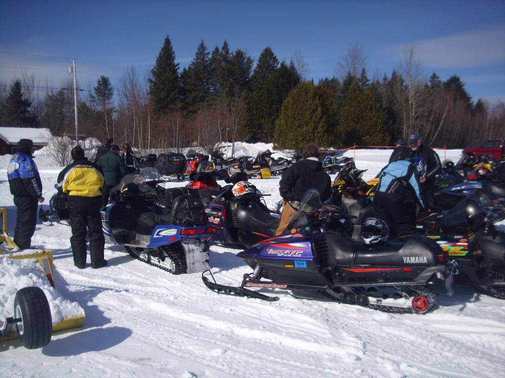 Sleds at Club house in Unity