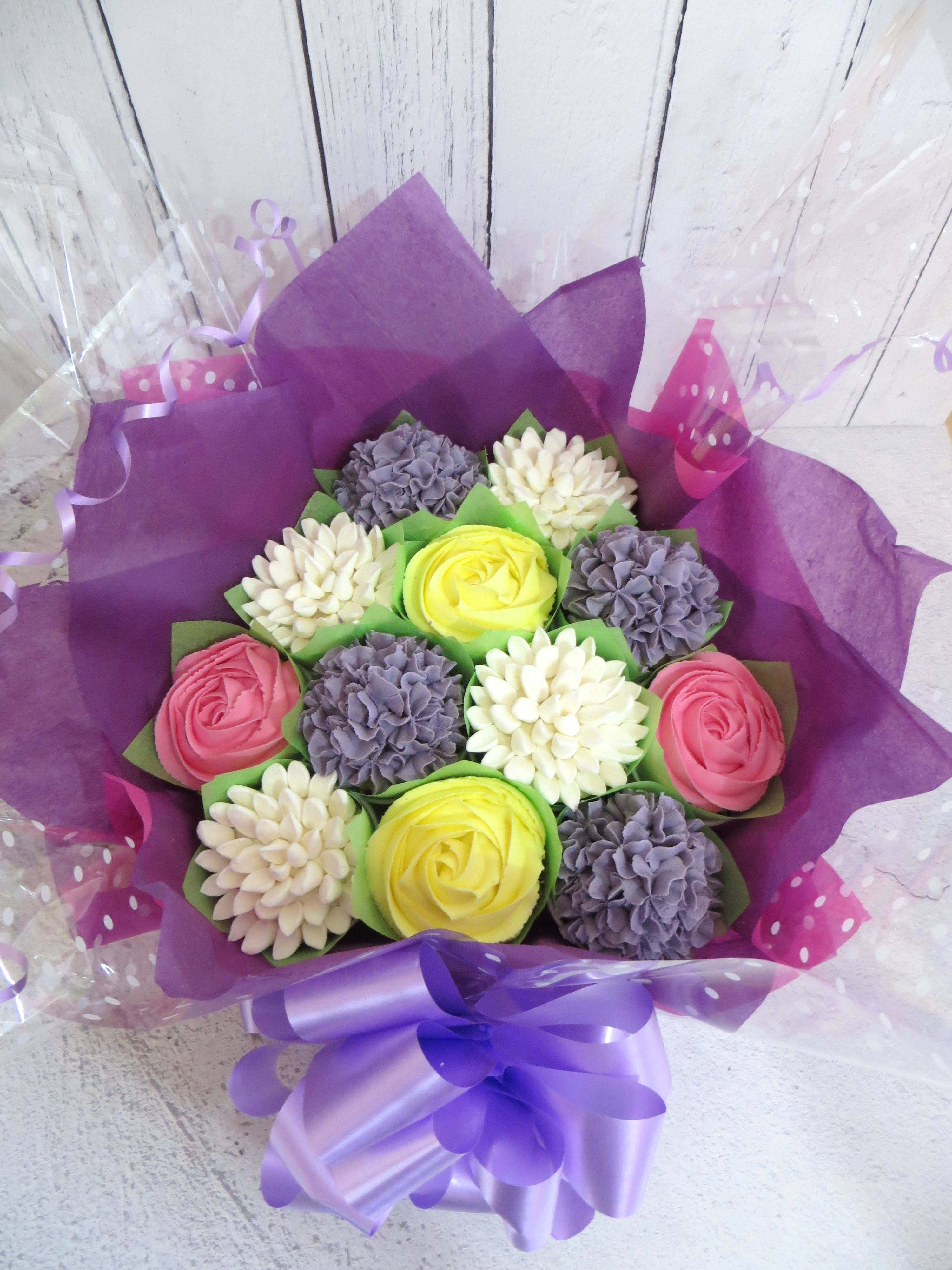 Purple, white and pink cupcake bouquet