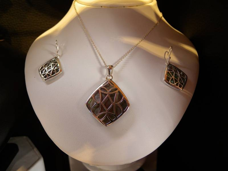 silver lattice over mother of pearl