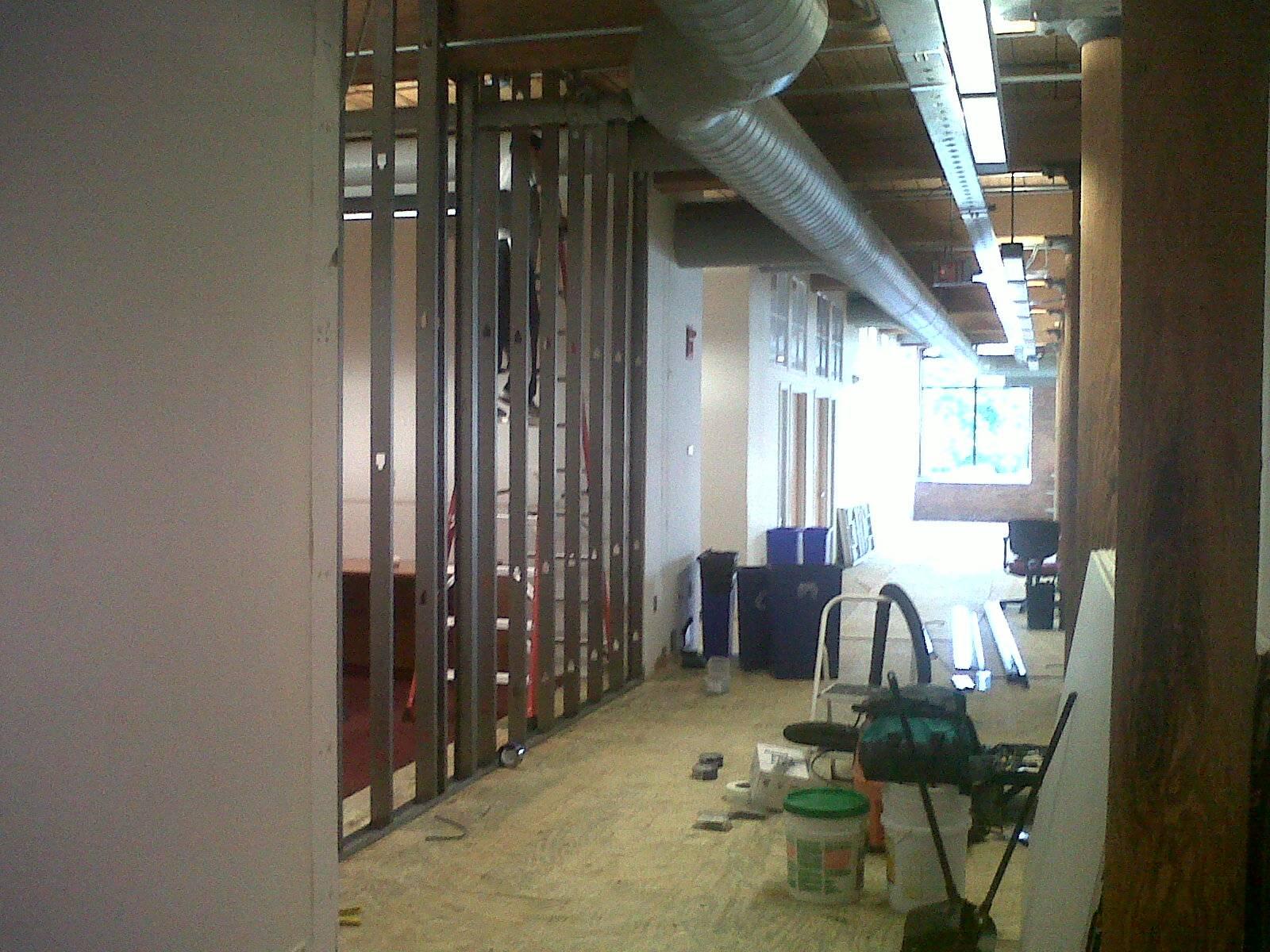 Progress Image 1: Metal Framing Going Up For New Storage Room