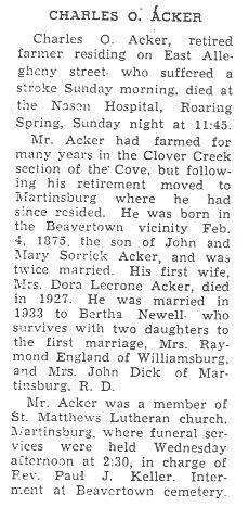 Acker, Charles O.