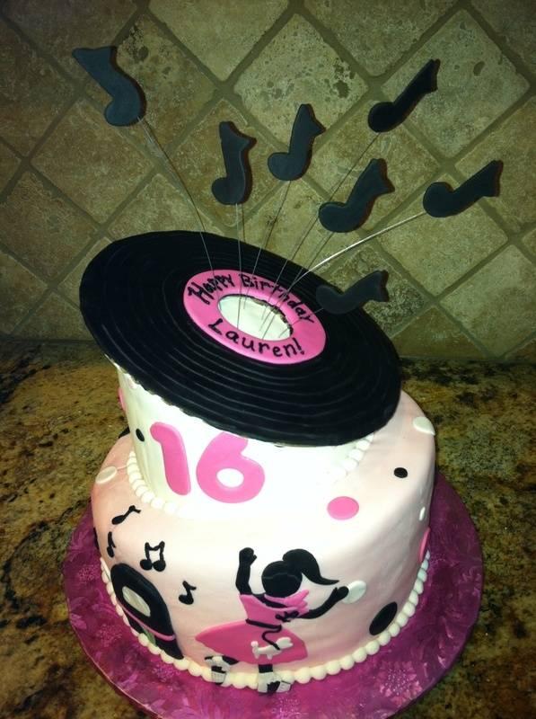 "50""s Themed Sweet Sixteen Cake"