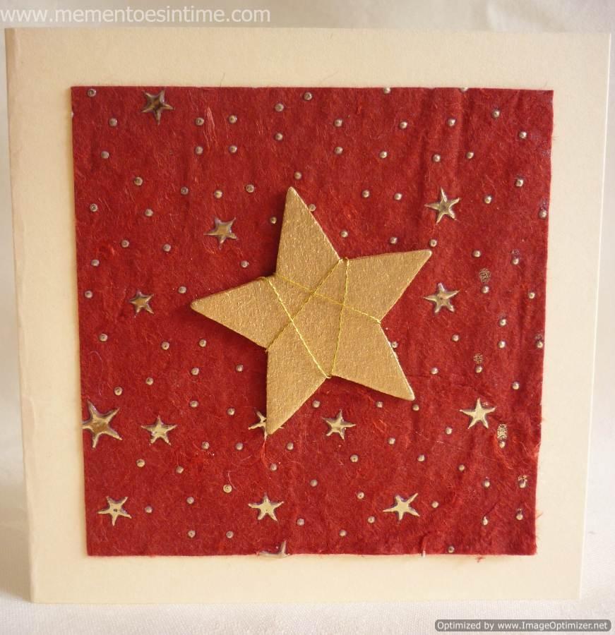 Gold Threaded Star on Handmade Paper