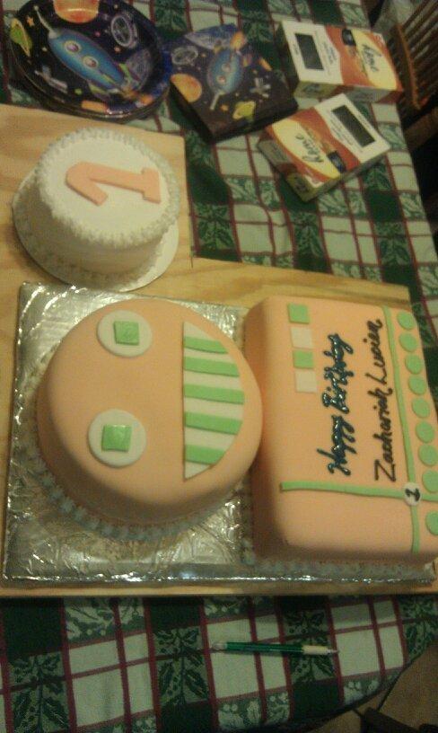 Robot First Birthday Cake