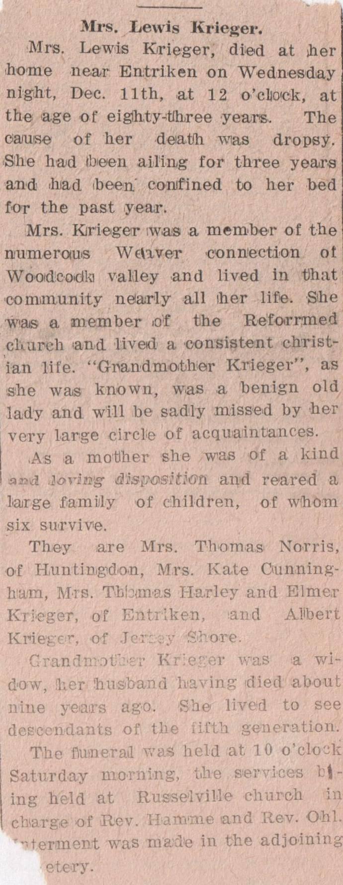 Krieger, Mrs. Lewis 1912