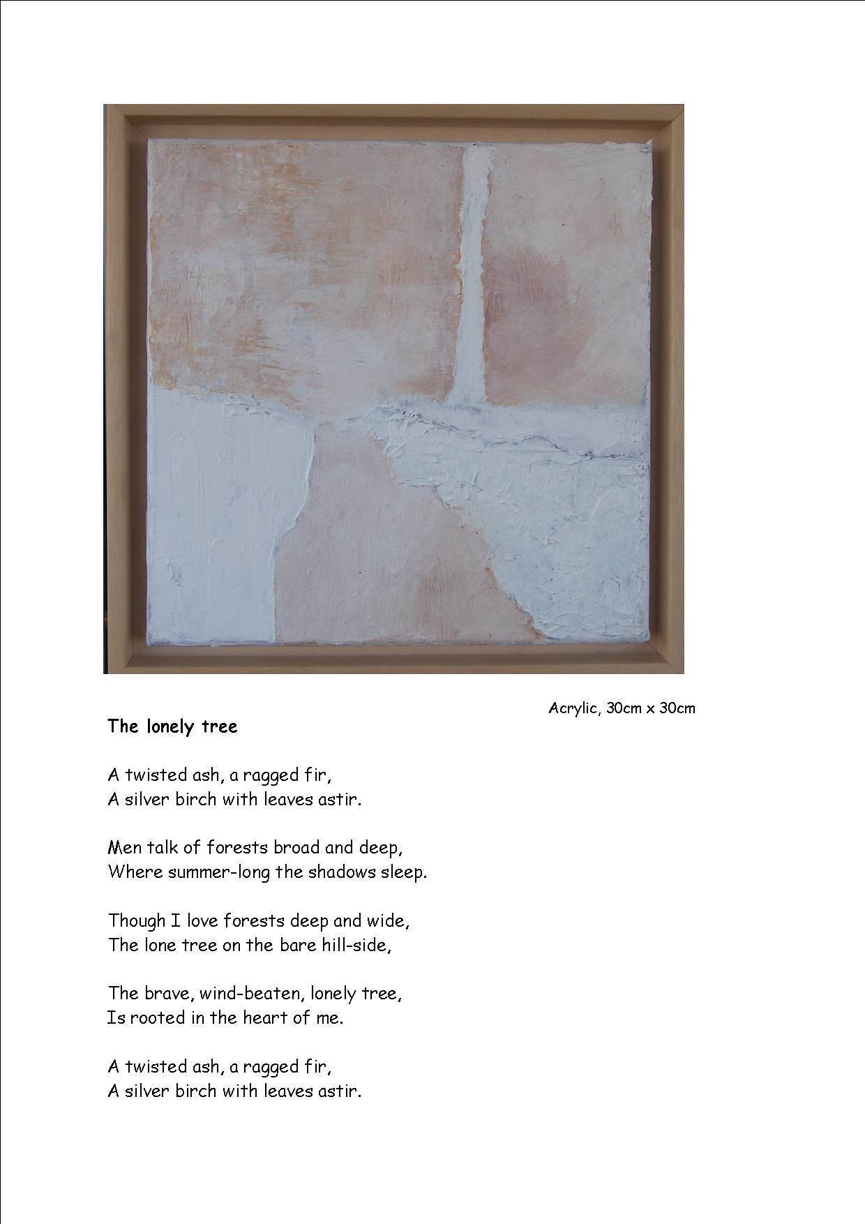The Lonely Tree - poem and picture